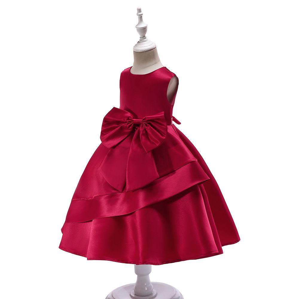 Lovely Crimson Blue Pink Jewel Knee Girl's Pageant Dresses Flower Girl Dresses Princess Party Dresses Child Skirt Custom Made 2-14 H312204