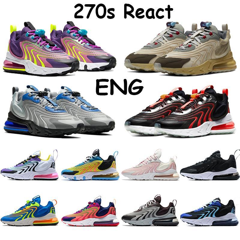 신발을 실행하는 2020 새로운 270S는 영어 가지 트래비스 스콧 배 블랙 화이트 다크 그레이 외계인 네온 광자 먼지 여성 스포츠 Traienrs 반응