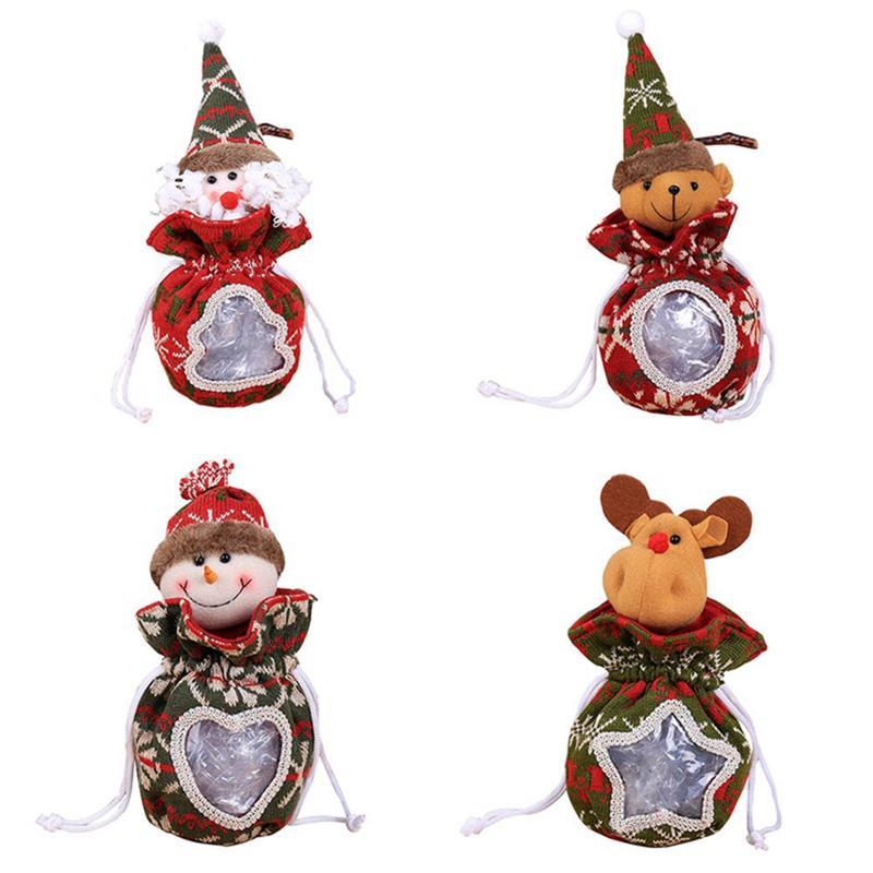 2018 Père Noël Bonhomme De Neige Pomme Vieux Homme Elk Figurine De Bonbons Pot De Noël Sac Cadeau De Noël Décoration Figurine De Bonbons