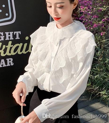 وصول ساخنة جديدة بيع الأزياء النسائية النسخة الكورية سوبر الجنية الشيفون فضفاض الحلو لوتس ليف الأعلى الحرير الشاشة المد القمصان