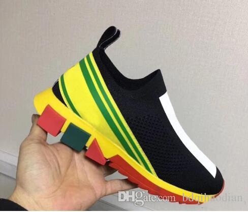 2020 Diamonds Designer meias calçados casuais Speed Trainer Preto Red Triple Moda meias pretas Botas sapatos instrutor da sapatilha 35-45 # 111