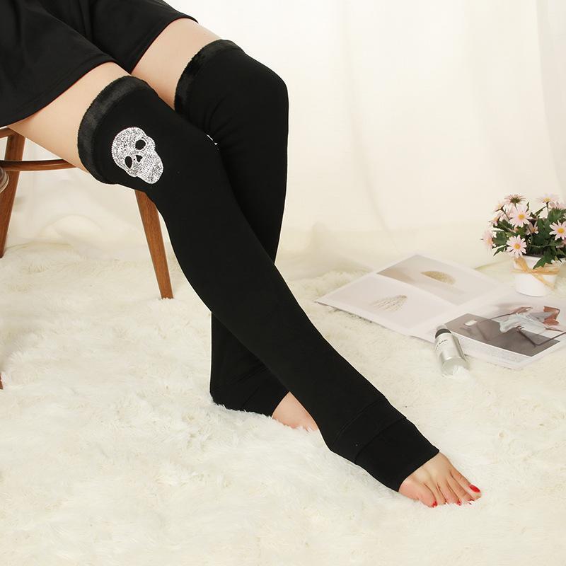 yüksek stockings296 üzerinde Sonbahar ve kış pamuk artı kadife kalınlaşmış diz boyu dibe çorap kadınlar Sıcak diz yastıkları, tozluk çorap, adım
