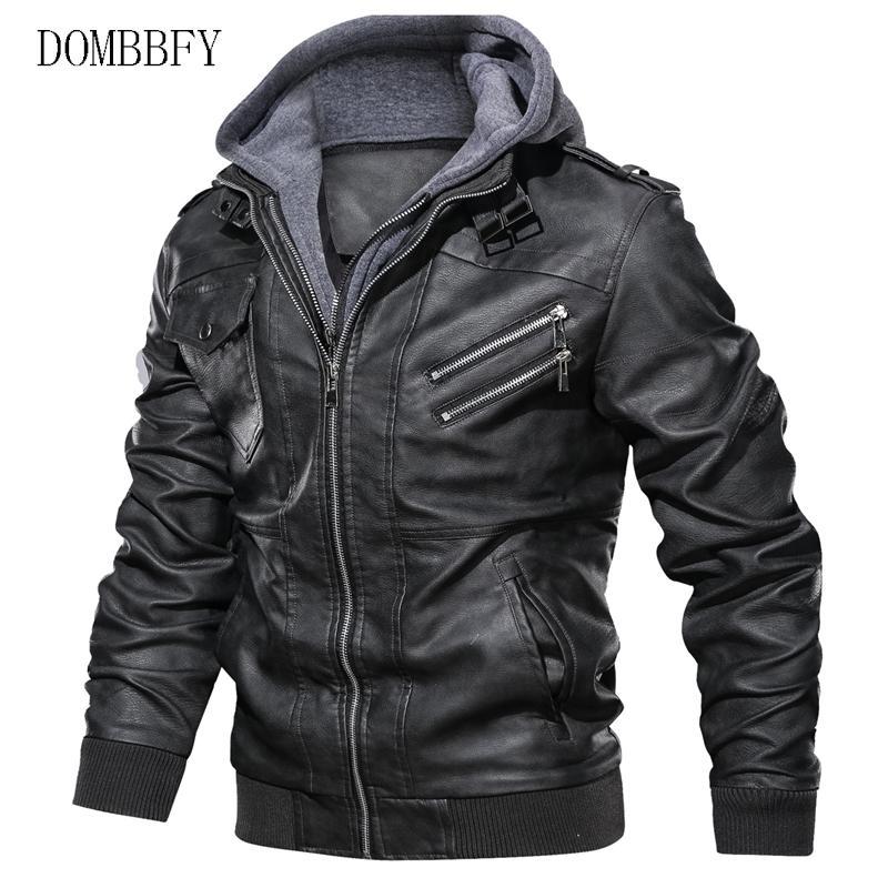 가을 겨울 남성 오토바이 PU 가죽 재킷 슬림 캐주얼 후드 자켓 폭격기 윈드 코트 EU 크기 S-3XL