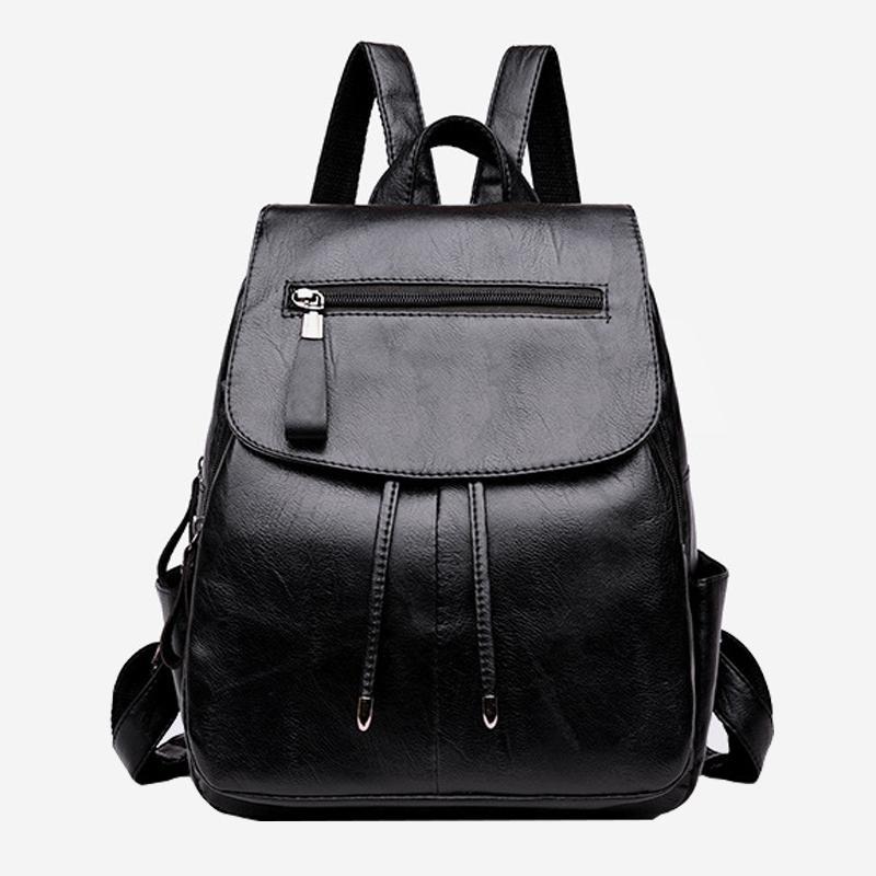 Novas mulheres da moda mochila anti-roubo 2019 alta qualidade preto mochilas PU feminino maior capacidade saco de ombro da escola ocasional