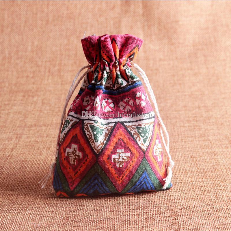 10x14cm Ethnic Linen Cotton Jewelry Pouch Gift Necklace Earrings Bracelet Packaging Bag Tribal Jute Gift Wedding Party Favor Bag