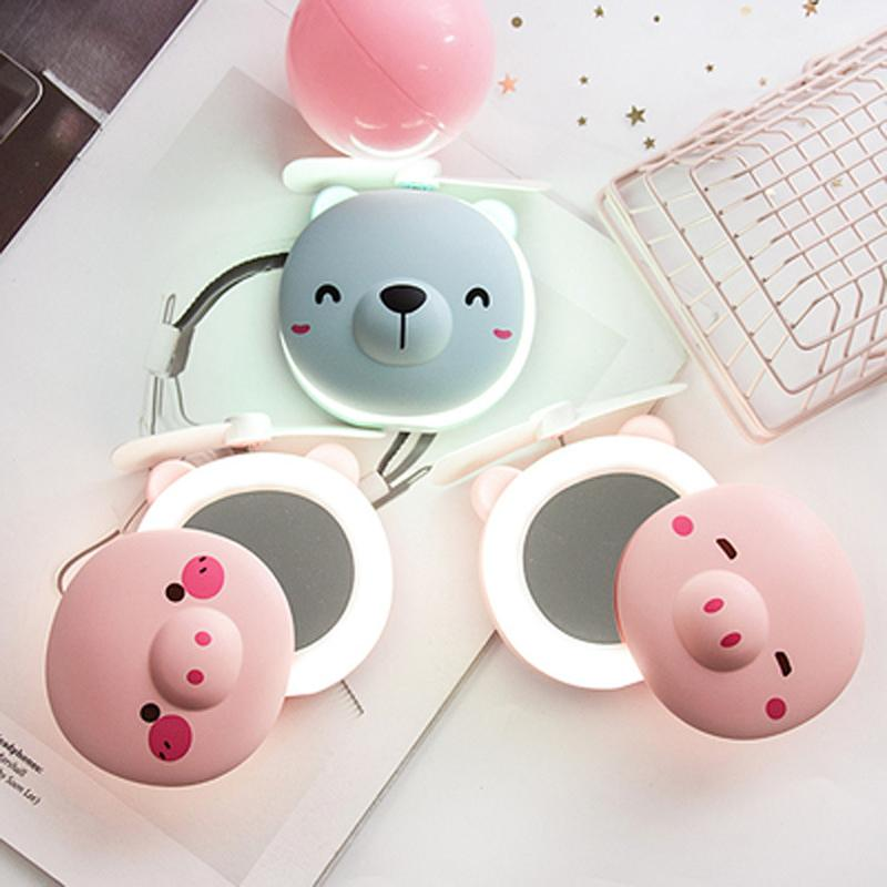 Cute Pig Makeup Mirror With Small Fan LED Light Portable Mini USB Charging Pocket Mirror Handheld Fashion Cartoon Pig Mirror Gift VT0426