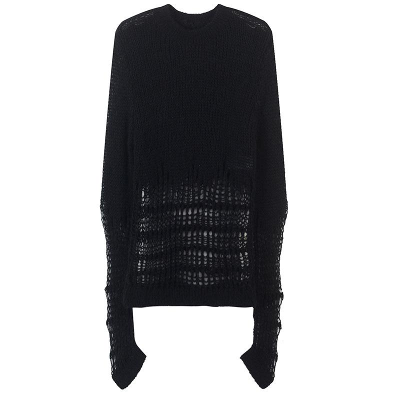 Spring 2019 New Korean Style Women Sweaters Full Sleeve Sexy Black Slim Hollow Out Knitted Shirts Female Casual Pullovers