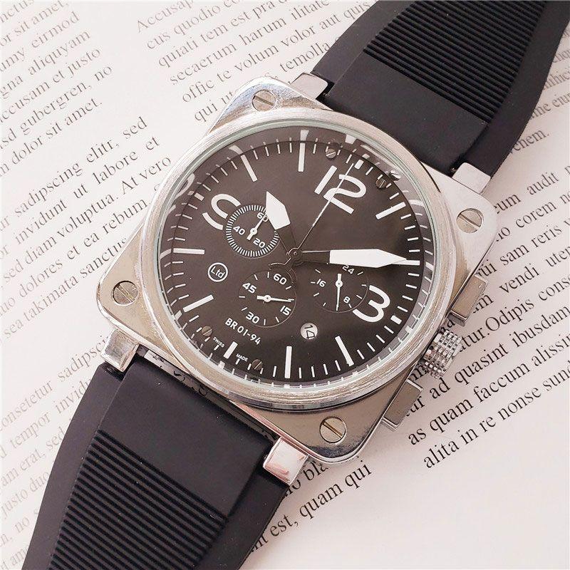 ejército de la marca de relojes suizos para los hombres de acero inoxidable caja de la correa de caucho hombres br reloj de cuarzo movimiento cronógrafo ver todos los relojes de trabajo de línea