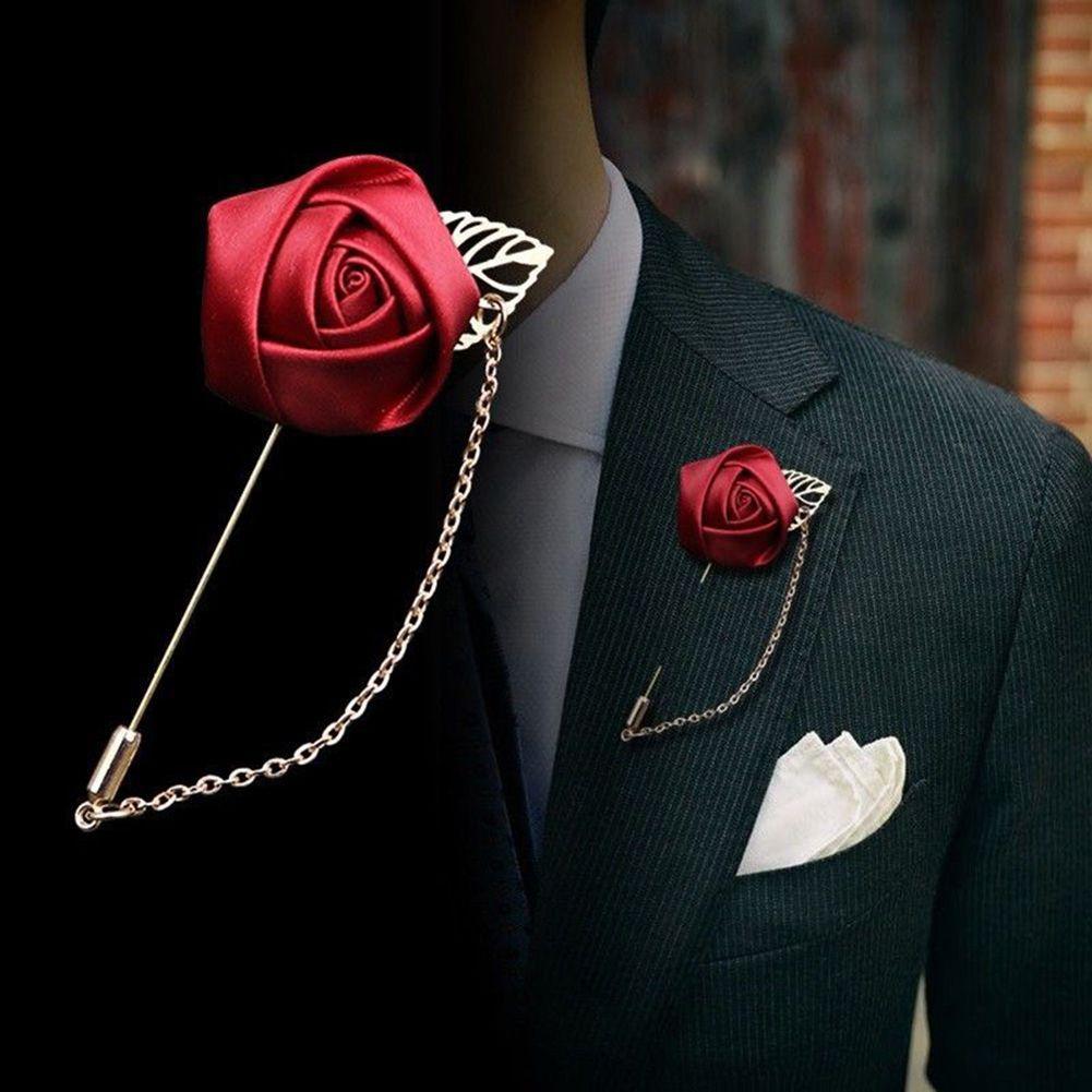 1 unid traje de los hombres de la hoja de oro flor de rosa broches pasadores de la solapa tela de la lona lazo de lazos collar de la flor larga aguja con cadena