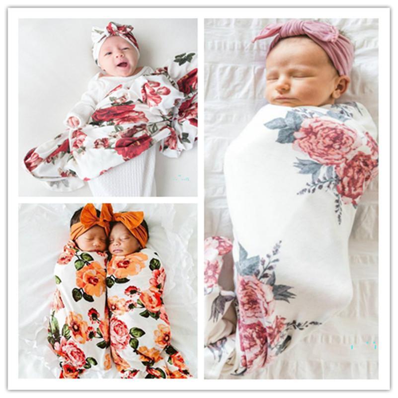 طفل التفاف القماش الرضع حديثي الولادة الأرنب آذان هات قطعتين مجموعة الأزهار المطبوعة المناشف لف غطاء قبعة مجموعة حقيبة النوم 5 ألوان CZ319