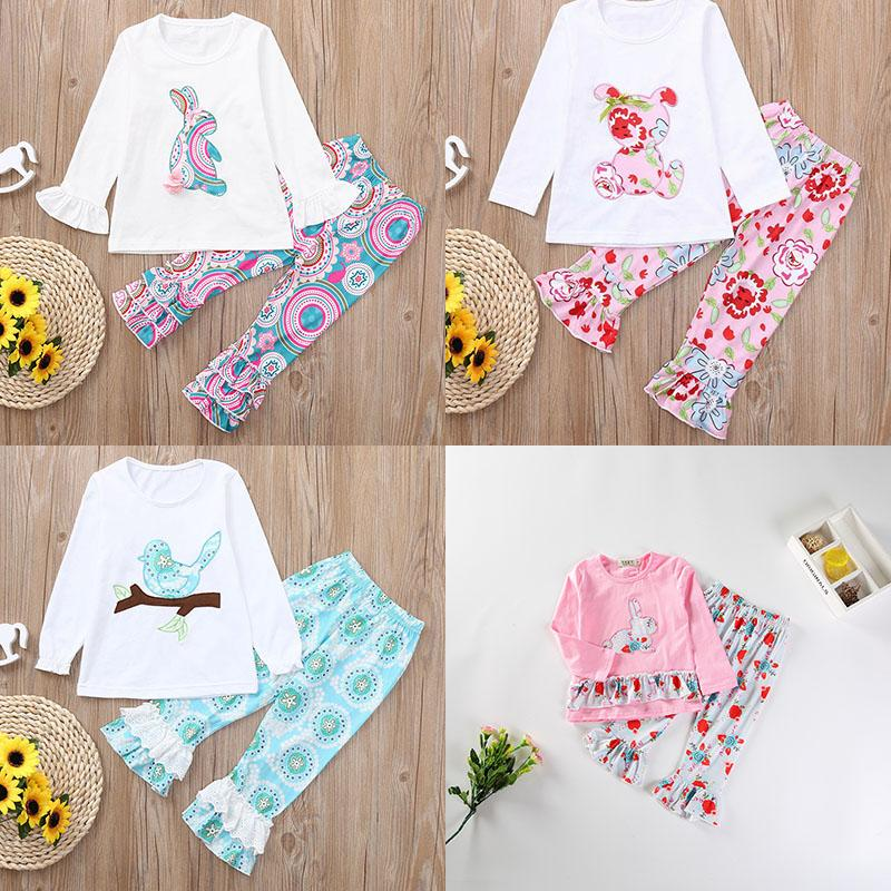 Easter Baby girls rabbit outfits children bunny top+Floral print ruffle pants 2pcs/set 2020 Spring Autumn boutique kids Clothing Sets C5946