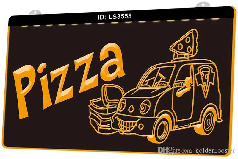 LS3558 Open Pizza Cafe Restaurant New 3D Engraving LED Light Sign Customize on Demand Multiple Color