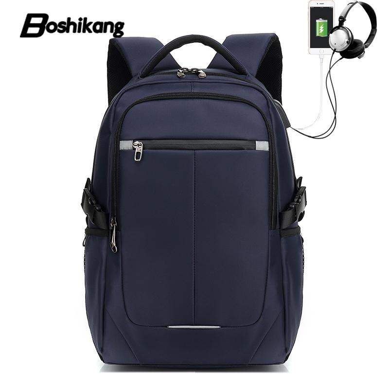 "Boshikang 15""17"" Laptop Backpack USB Charge Computer Backpacks Waterproof Bag High Quality Travel School Backpack for Male"