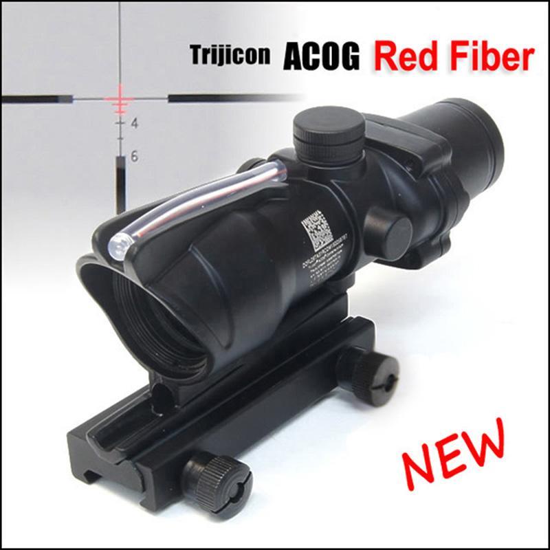 Tactical ACOG 4x32 Optical Fiber Scope Hunting Red Illuminated Crosshair Reticle reflective coating Weaver Rifle Scopes Combat Sight