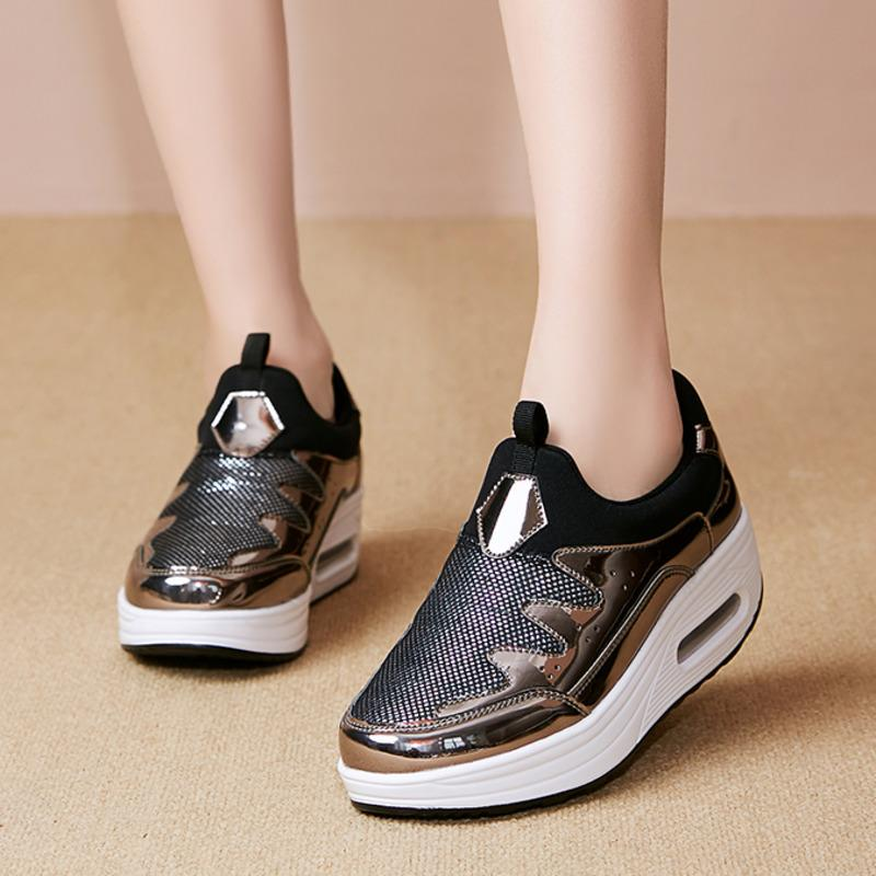 Wedge Sneakers Slimming Toning Shoes Thick Bottom Increase Platform Shoes Women Fitness Shoes Shock Jumping Shoe