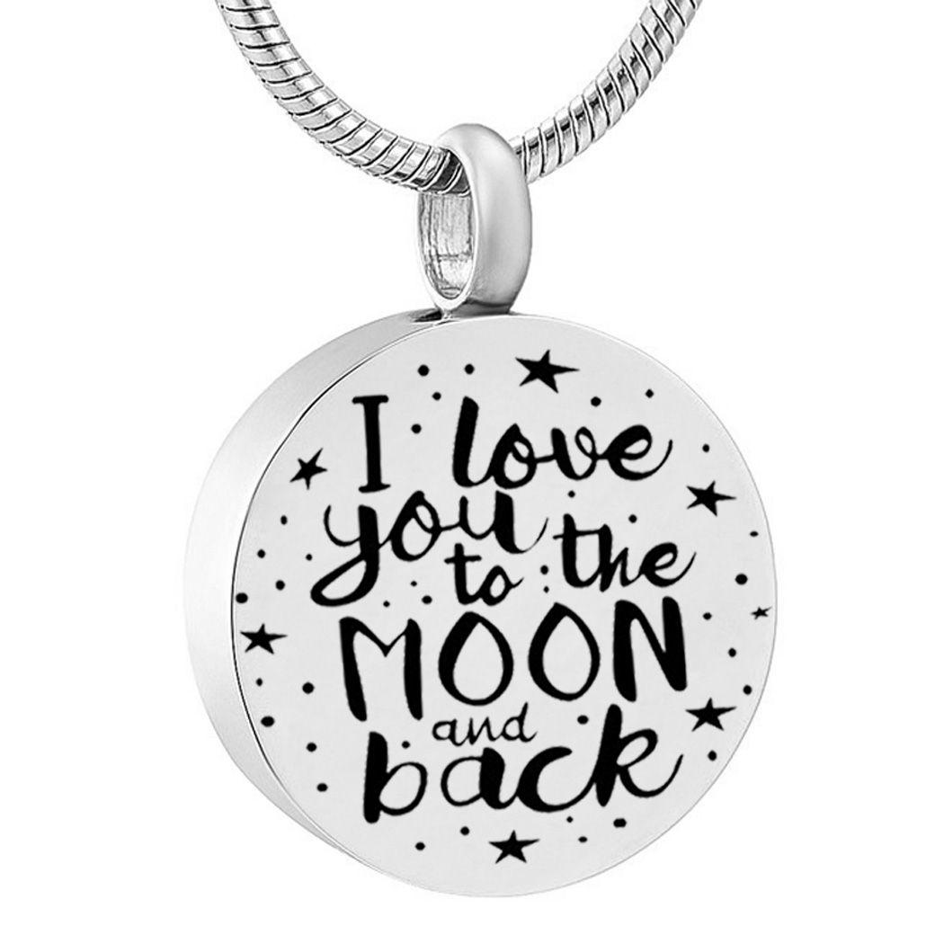 أحبك حتى القمر و قلادة رماد الجرة من الفولاذ المقاوم للصدأ