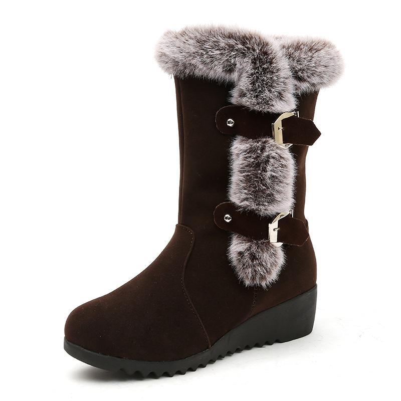Venda quente-Inverno Mulheres Botas de Neve de Pele Morna Sapatos de Senhora Mid-Calf Plataforma Botas Femininas Preto Marrom Plus Size Botas Mujer Invierno