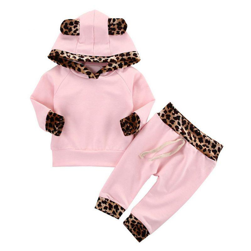 Infant Toddlerm Neugeborene Baby-Kleidung Leopard Seite der rosa Mantel Hoodie Top Sweatshirt Hosen Leggings Outfits