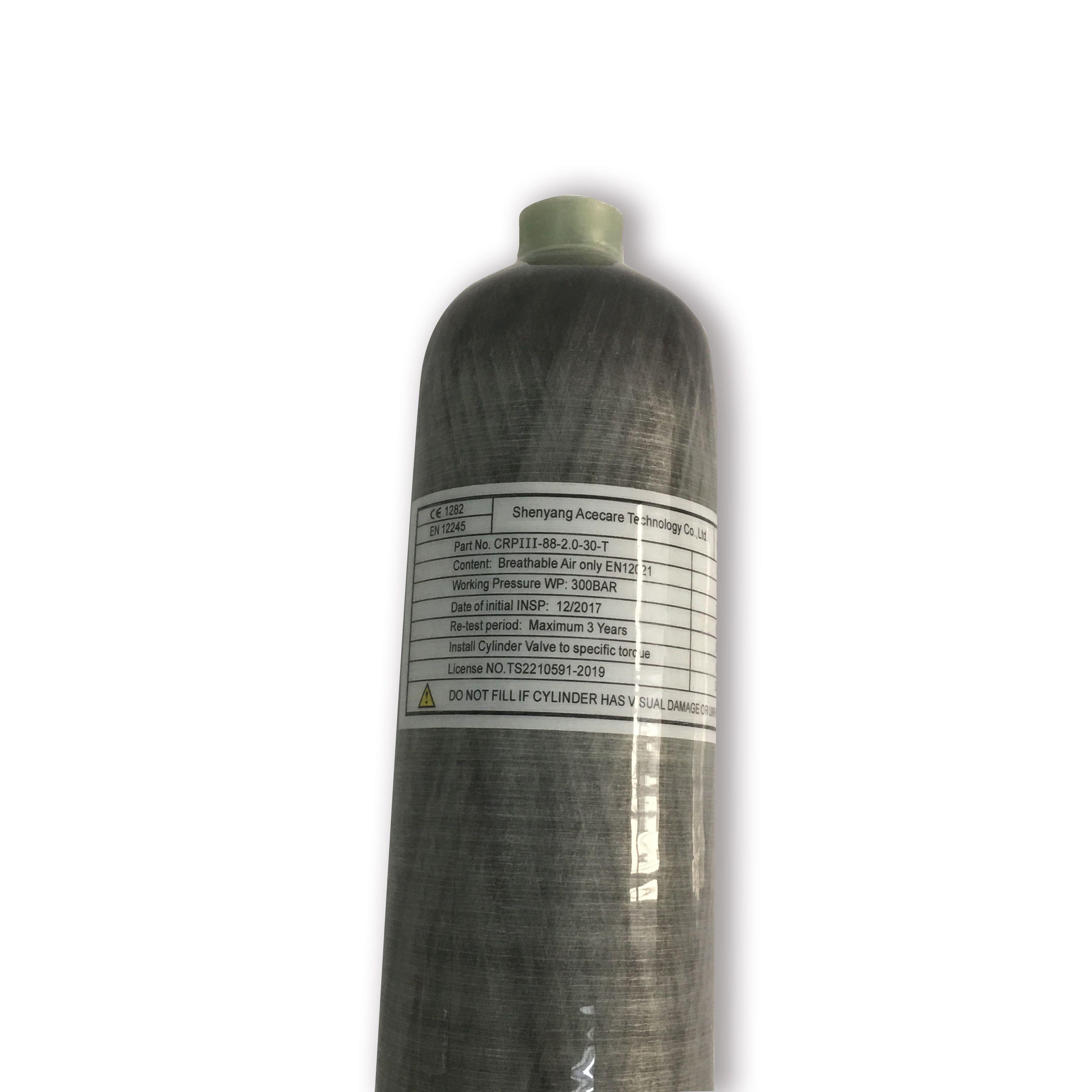 Tanque de Paintball Acecare 2L HPA 300BAR 4500psi De Fibra De Carbono Scuba Tanque Cilindro De Ar Do Tanque Cilindro Pcp Garrafa