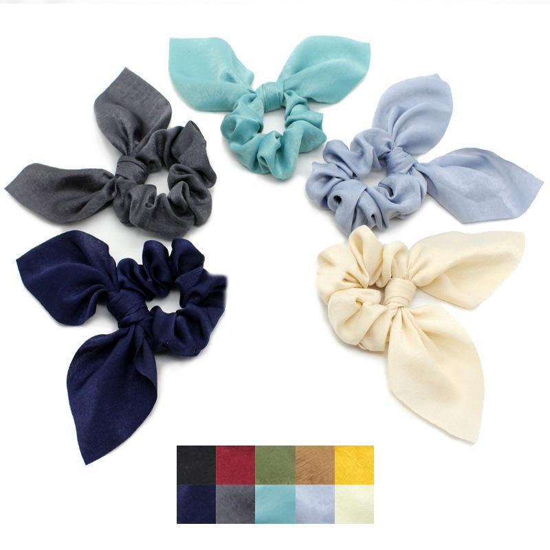 New Arrival Women Fluorescent Color Bow Hair Tie Neon Color Hair Scrunchies Girls candy Ponytail Holder Hair Accessories