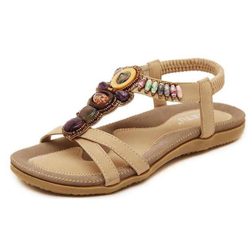Shoes Woman Slippers Sandals Girls Women's Fashion Sweet Beaded Clip Toe Flats Bohemian Herringbone Sandals A0516#30 Y19070303