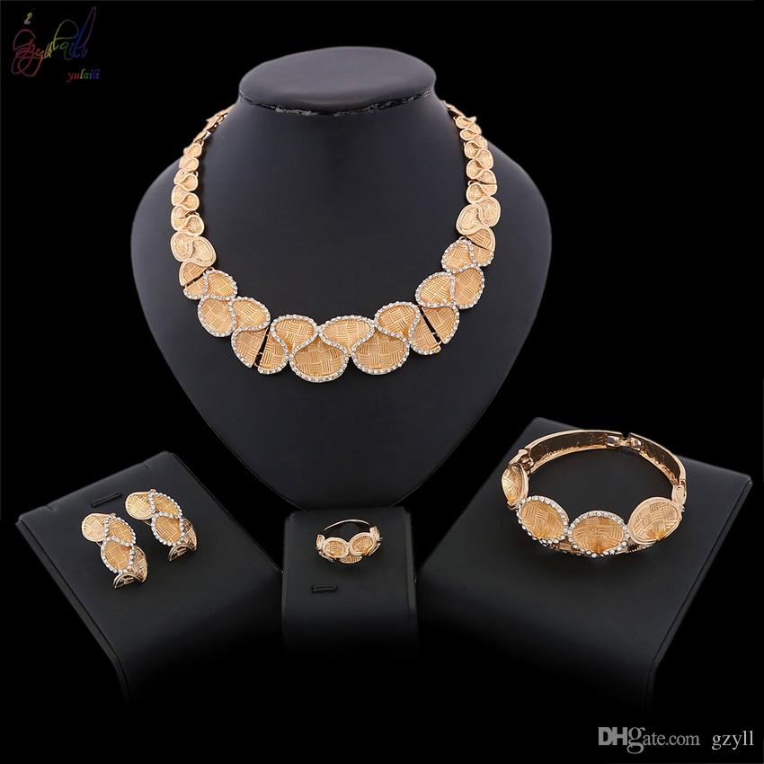 Yulaili Free Shopping Top Quality Gold Color Crystal Necklace Earrings Bracelet Ring for Women African Nigeria Wedding Jewelry Sets