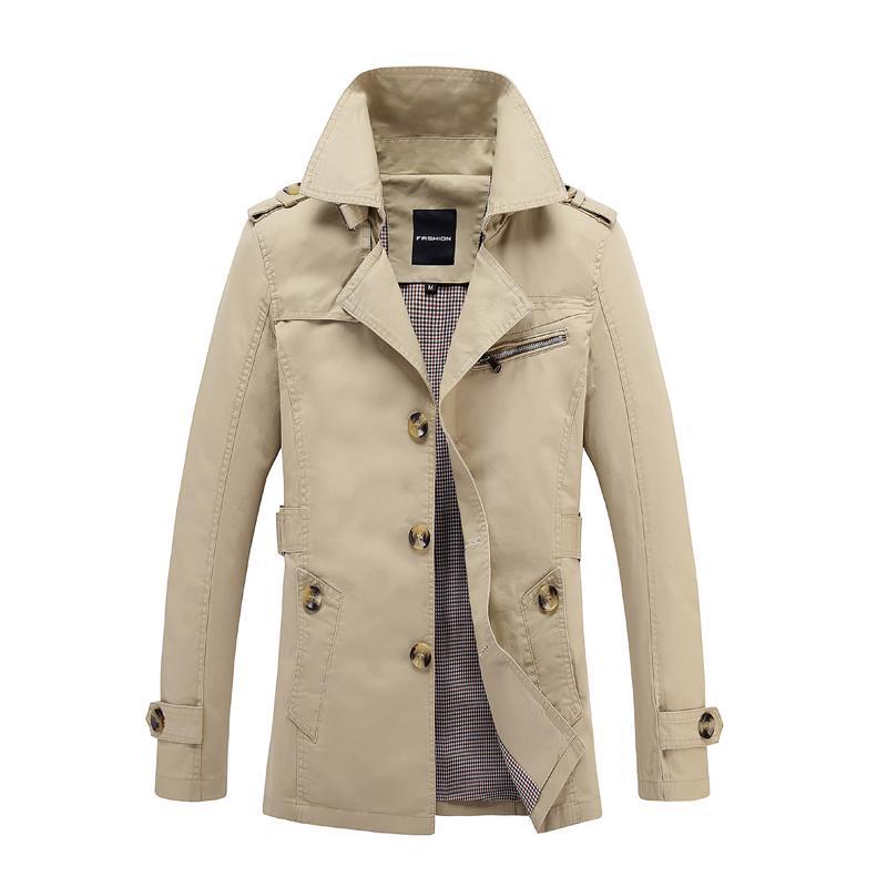 Gabardina larga masculina abrigo largo chaqueta de la capa de los hombres de los hombres de Trenchcoat Masculina rompevientos Outwear la tela de algodón 5XL