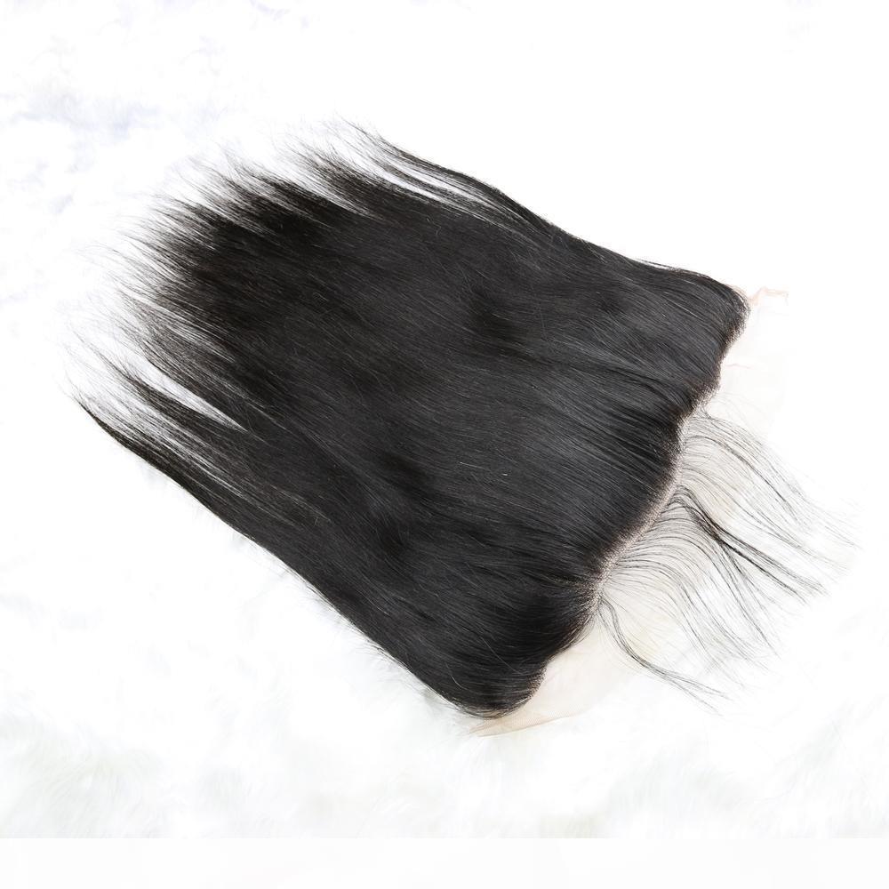 Pizzo frontale Chiusura brasiliana malese indiano peruviano cambogiana Virgin diritto dei capelli umani chiusure superiori merletto pieno orecchio a orecchio 13x4 Size