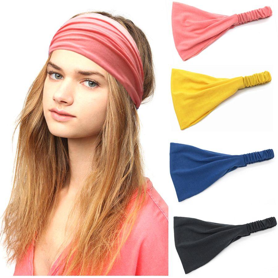 Women Headband Stretch Elastic Yoga Hairband Sport Wrap Turban Knotted Hair Band