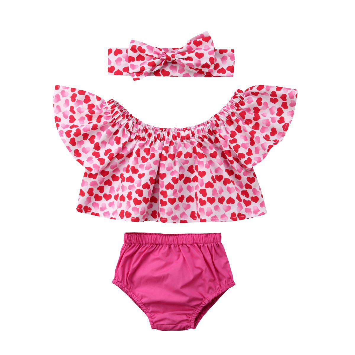 2019 del bambino appena nato del bambino ragazze spalle scoperte San Valentino Cuore Crop Pantaloncini fascia 3PCS Outfits sveglia copre 0-24M