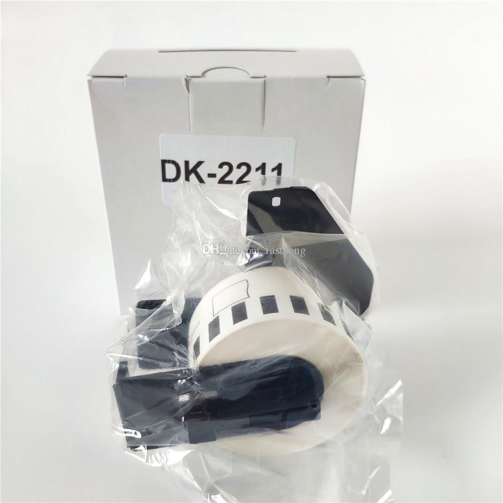 30 рулонов Brother DK 22211 DK-22211 DK22211 DK2211 DK-2211 DK 2211 Совместимые этикетки для термопленки с черным пластиковым держателем