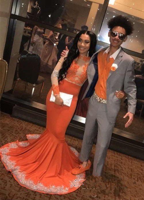 2019 schwarze mädchen orange prom kleider langarm spitze applique meerjungfrau abendkleid für frauen partykleid mit Sweep Zug