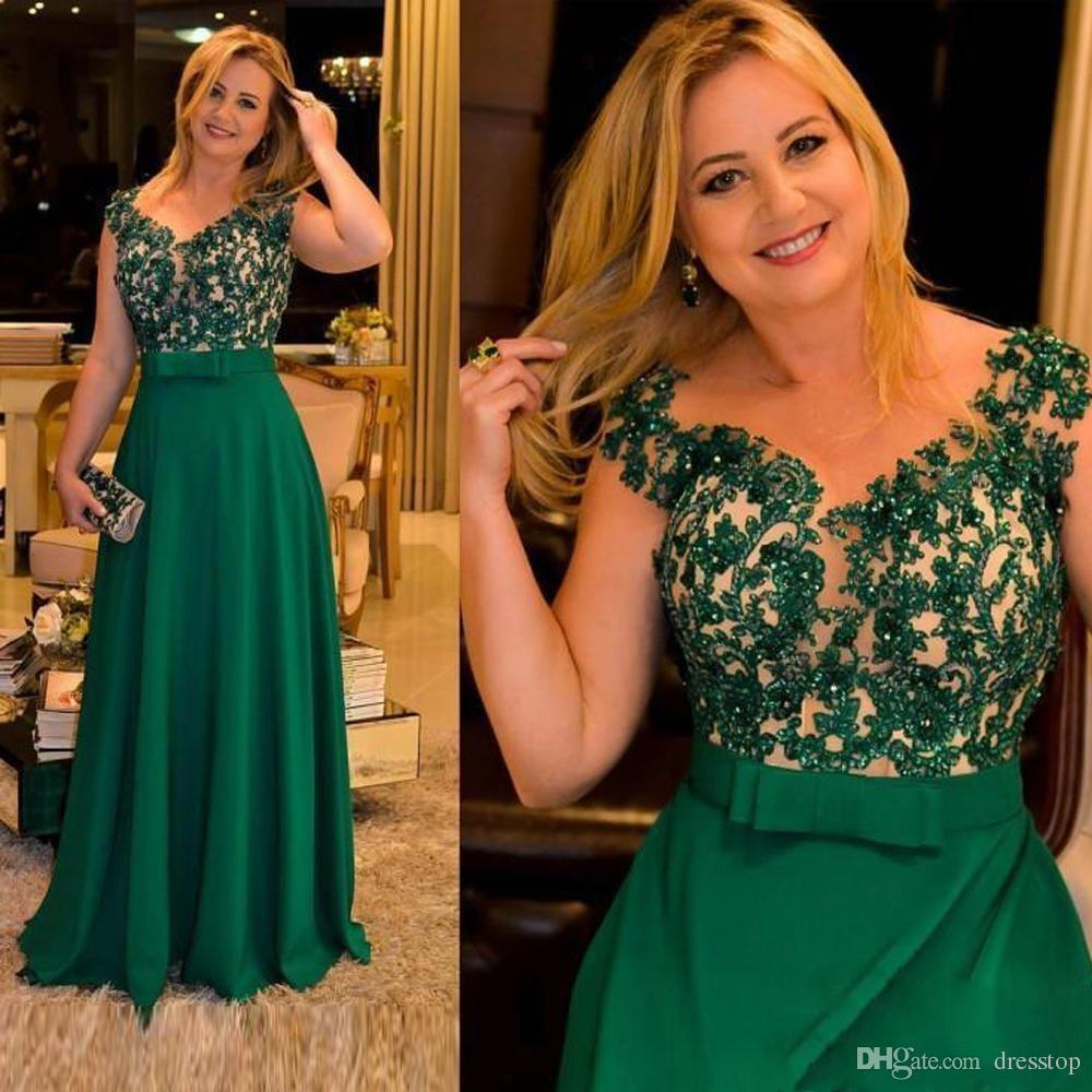 Green A Line Mother of Bride Dresses Plus Size Cap Sleeve Lace Applique Sequined Evening Gowns Floor Length With Bow Sash Prom Dress
