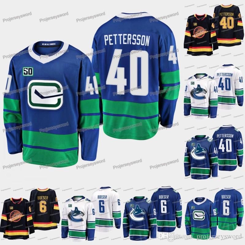 Hombres Vancouver Canucks 50 aniversario 6 Brock Boeser 17 Josh Leivo 21 Loui Eriksson 26 Antoine Roussel 40 camisetas de hockey Elias Pettersson