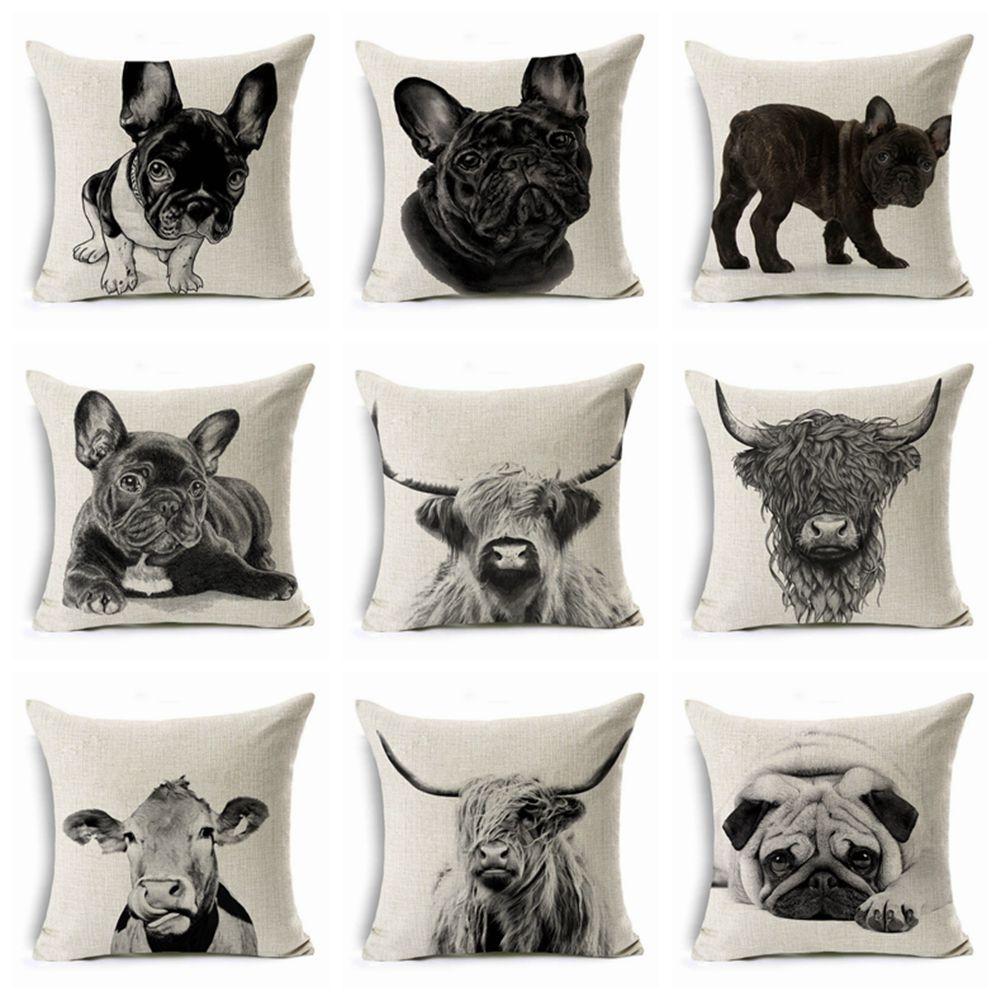 100pcs Sofa Cushion Decorative Pillow Case Cover Cushion Cover Pillow Animal Printing Pillow Case Home Deco Car Sofa Pillowcase 45*45cm