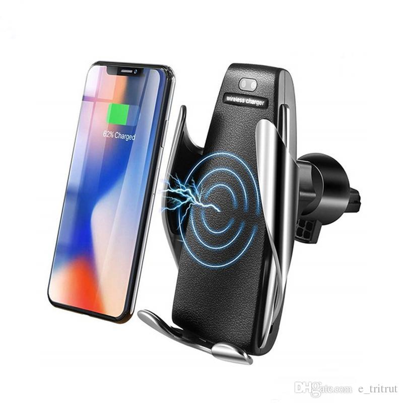 S5 automatique sans fil Qi 10W Clamping Chargeur voiture 360 ​​degrés de rotation Vent Mount Phone Support pour iPhone Android Phones Universal