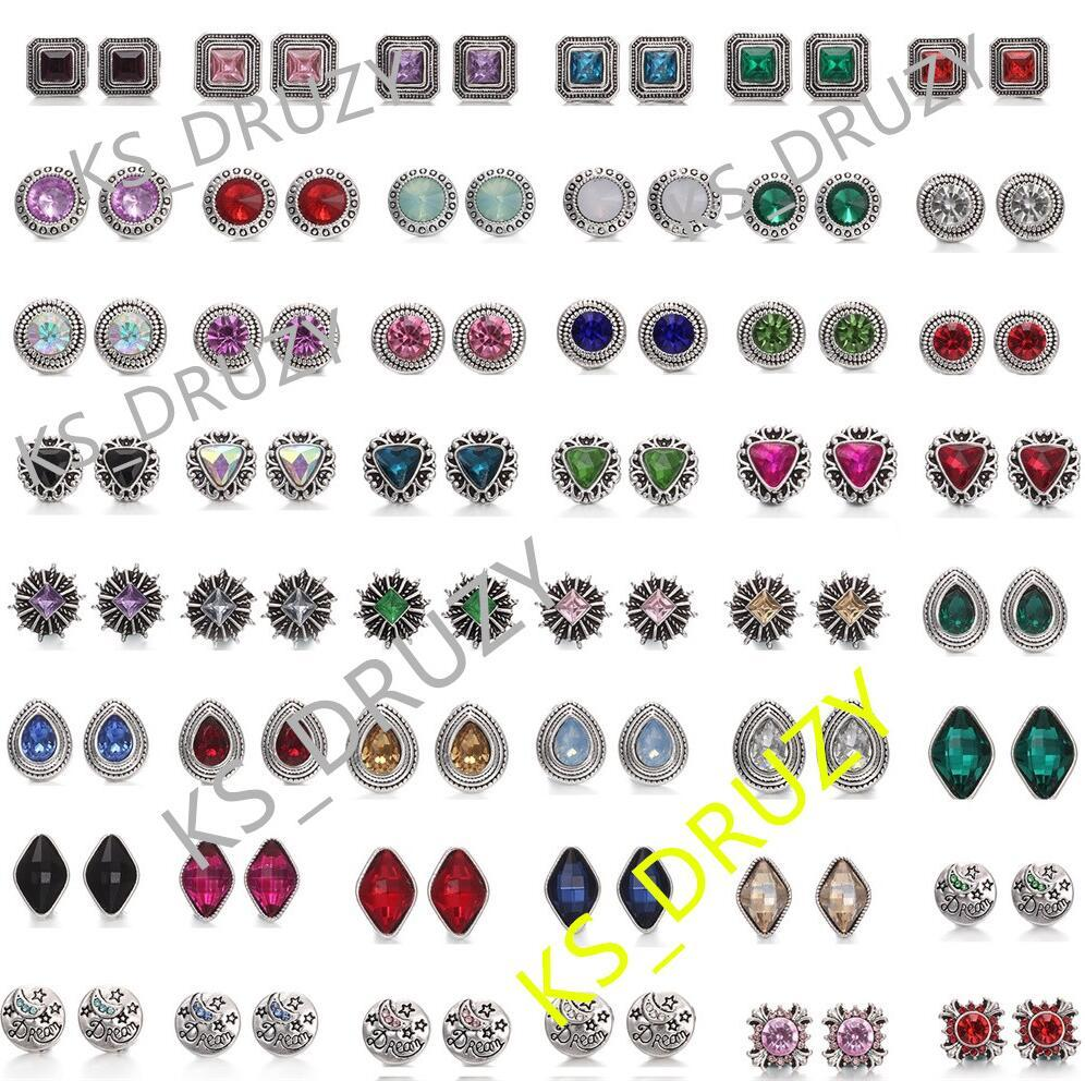NOOSA Chunks 12mm Crystal Snap Button Jewelry Square Cube Triangle Rhinestone Snap Button DIY Chunks Bracelet Ring Party Gift