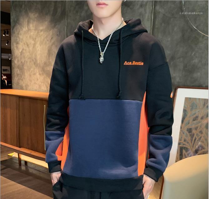 Long Sleeve Plus Size Mens lettera stampata Felpe con cappuccio casual Patchwork cappuccio Uomo Inverno Primavera Abbigliamento Pullover