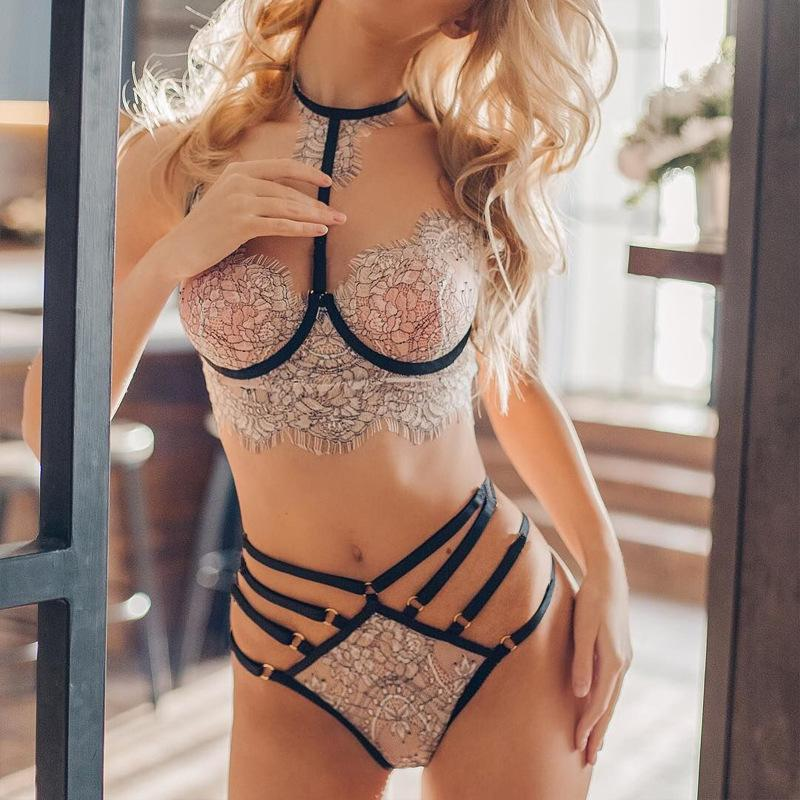 Lace Lingerie Set Lace See Through Bra Sexy Bra and Panty Sets Lingerie Porno Ropa Sexy Para El Sexo Fashion Tank Tops