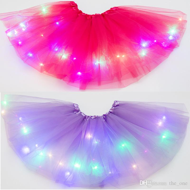 Çok renkli ışıkları ile şirin çocuklar LED elbise Payet Tutu Etek sahne performansı ve Parti 20pcs aydınlık kız elbise kabarık yıldızı