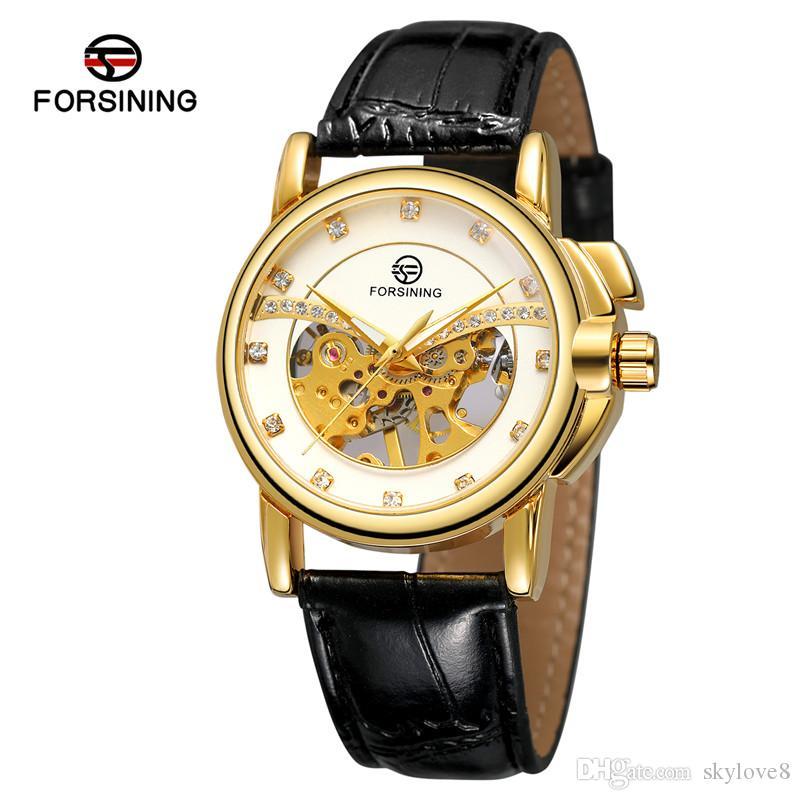 entreprise modèle gros marque FORSINING automatique montre mécanique hommes creux diamant de mode bracelet de montre pu Japon mouvement durable