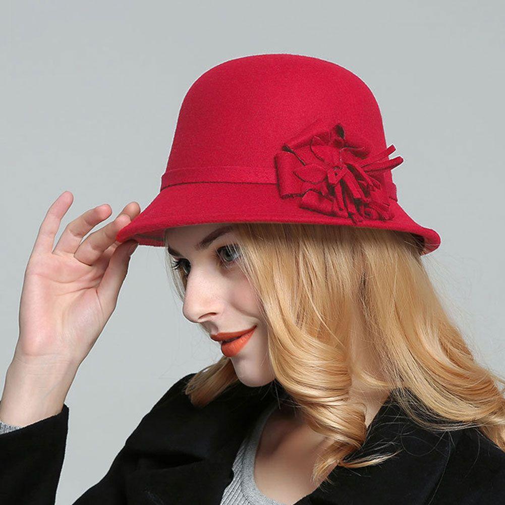Bowler Cap Cloche Bucket Hat Mulheres Moda Vintage Outono Inverno elegante flor Rodada imitação de feltro de lã Adultos Quente Aba larga