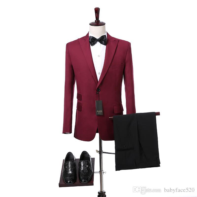 Burgund Männer Anzüge Slim Fit Blazer spitzen Revers Hochzeit Smokings für Bräutigam Zweiteilige Jacke Hosen Foviva Stil 09011