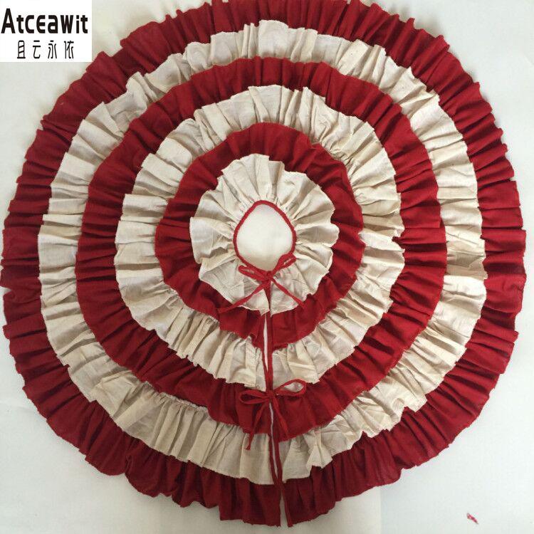 Hot Sale 50 inch 127cm linen pleated big Christmas tree skirt Christmas tree decoration mat for New Year Decoration