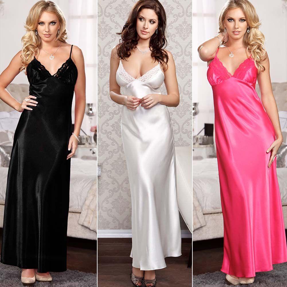 Senhoras Noite de Cetim De Seda Camisola Babydoll Camisola Chemise Lace Robe Sleepwear longo Vestido Sexy Lingerie Trajes Acessórios