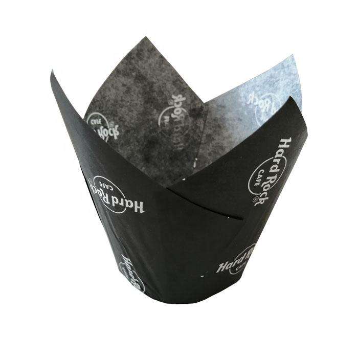 black color letter printed tulip muffin cupcake paper cups 100% food grade paper for good health