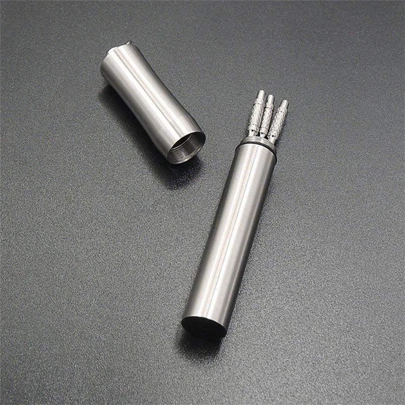 Storage Box Pocket Toothpick Holder Outdoor Portable Toothpicks Storage Lightweight Titanium Alloy Pocket Size Waterproof Toothpick Box with Key Ring