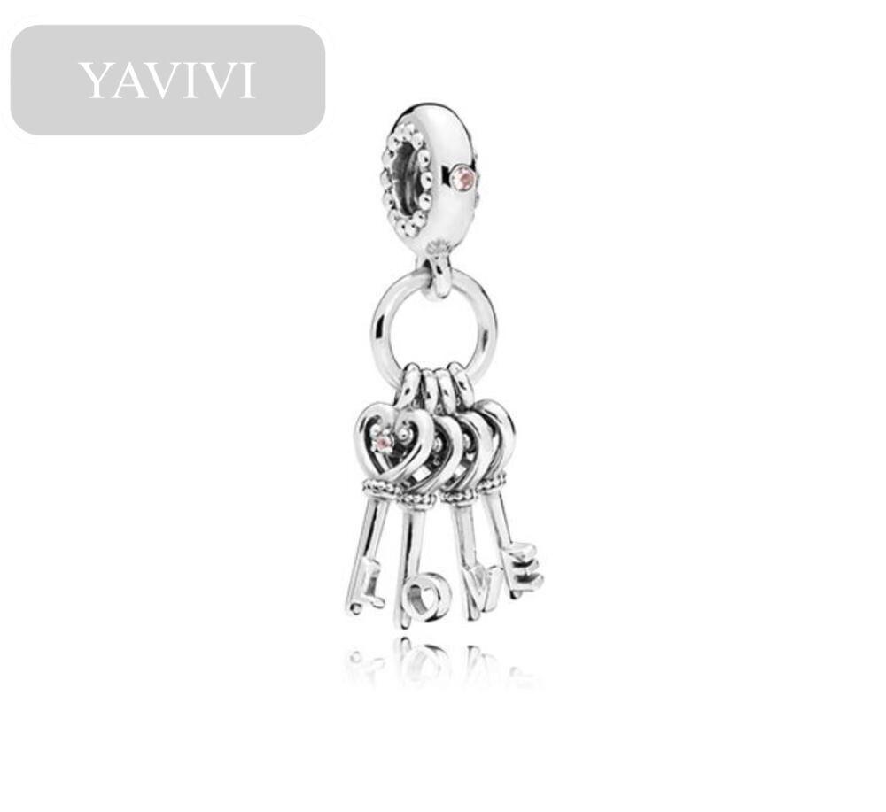 YAVIVI سوار الخرز شخصية الحب مفتاح سلسلة قلادة الإبداعية الحد الأدنى سبيكة شكل قلب الاكسسوارات جوفاء