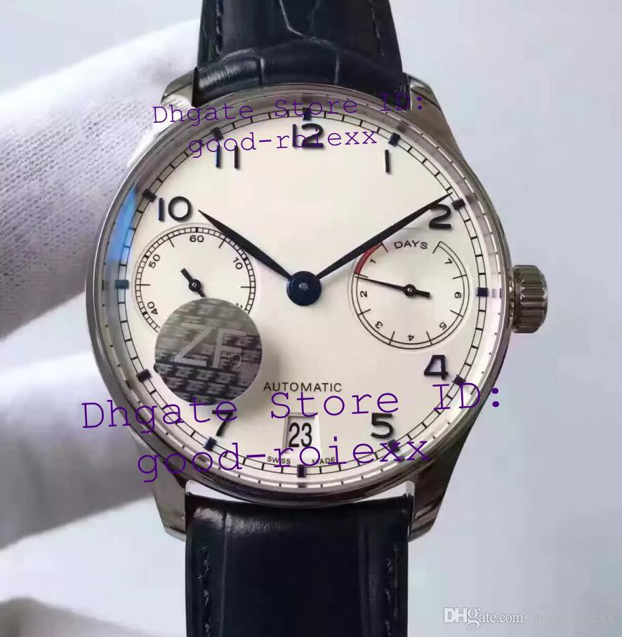 Top Mens Automatic Cal.51011 Watch White Dial Calendar V5 Version Leather Men Eta 7 Days Men's Watches ZF Sport Factory Eta Wristwatches