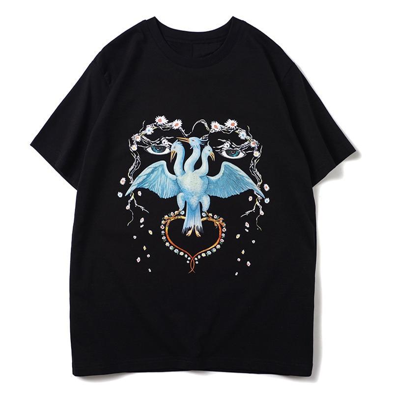 2020 رجل المصمم T قميص رجل جودة عالية قصيرة الأكمام الرجال النساء زوجين الطيور طباعة عارضة الازياء فضفاض المحملة
